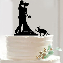 Free Shipping Bride and Groom Cake Topper Acrylic Silhouette Wedding Cake Topper Wedding Cake Topper Cake Decor with Pet Cat