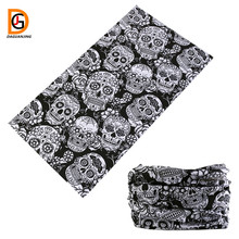 DaGuanJing 2017 Most Popular and Favorite Black White Pattern Print Skull Pirate Bandana Scarf Headband Stlyes Cowboy Bandanas