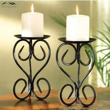2PCS/LOT Metal candle holders stand pillar iron black Europe for Christmas wedding birthday decoration portavelas candelabra(China)