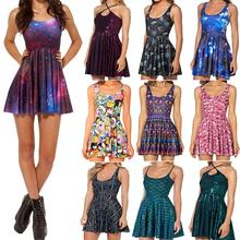 Galaxy Dress Skater Dresses 2016 Summer Dress Black Milk Galaxy Dress for Women S M L XL 2XL Plus Size
