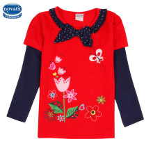 2016 Nova kids wear novelty design winter girls floral owl hot selling fashion t shirts for girls children autumn t shirts(China)