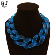 New arrival Big Plastic Chain Necklace Fashion Navy Blue jewelry Matte Color Necklace NK1013