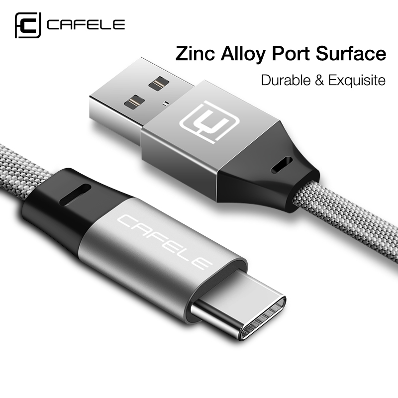 Cafele Type C Cable Fast Charging USB Type-C Huawei P20 Xiaomi Samsung S9 S8 OnePlus 5 Data sync Textile braid Type C Cable