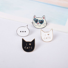 Cute I love Cat Kitty Metal Brooch Pins Button Pins Jeans Bag Decoration Jewelry Wholesale