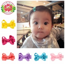 20 Pcs/lot Small Mini Bow Hairgrips Sweet kids Solid Whole Wrapped Safety Hair Clips Kids Hairpins 615