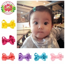 20 Pcs/lot Small Mini Bow Hairgrips Sweet kids Solid Whole Wrapped Safety Hair Clips Kids Hairpins 615(China)