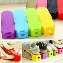 Simple Shoes Rack Solid Color Plastic Double Adjustable Layer Stereo Receive Shoes Storage Hanger Saves Pace HG99(China)