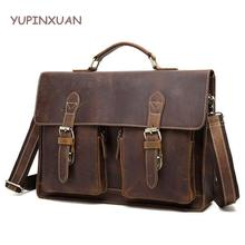 "YUPINXUAN Vintage Crazy Horse Briefcases Men Genuine Leather Messenger Bags 14"" Laptop Handbags Cow Leather Business Bag Russian"