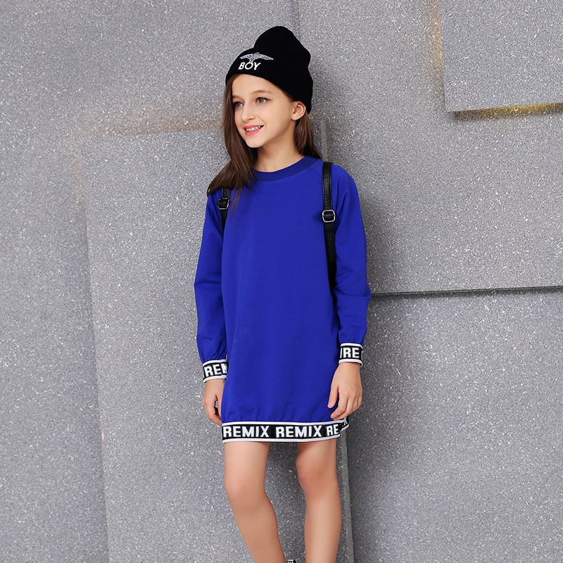 2016 Girls Autumn Royal Blue Dress 100% Children Cotton Kids Fashion Long Sleeves Dress Clothes 5 6 7 8 9 10 11 12 13 14 Years<br>