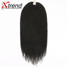 Xtrend 6/8packs Senegalese Twist Hair Ombre Kanekalon Crochet Hair 18'' 30roots 75g Synthetic Crochet Braids Hair Extensions(China)