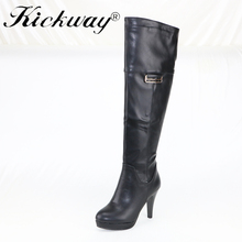 Kickway shoes 2017 woman motorcycle shoes knee high boots winter dating and shopping shoes women's over the knee high boots 40(China)
