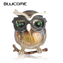 Blucome New Style Purple Parrot Brooch Big Belly Owl Brooches For Kids Gifts Suit Collar Sweater Clips Gold-color Pins Jewelry(China)