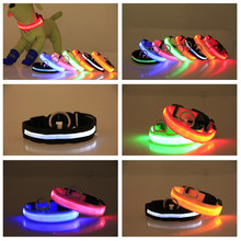 Safety Pet Collar For Lighted Up Nylon Solid LED Dog Collar Glow Necklace Safe Reliable Colorful Puppy Small Dog