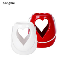 Rangnic Heart Candlestick Romantic Candle Holders For Home Decor Wedding Love Decoration candelabra Decoration White Red Lantern(China)