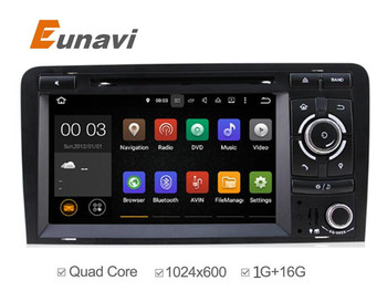 """Новые 7 """"Android 5.1 Quad Core 2 Дин DVD Автомобильные cd GPS для Audi A3 S3 RS3 OBD2 1080 P Bluetooth RDS Радио DAB"""