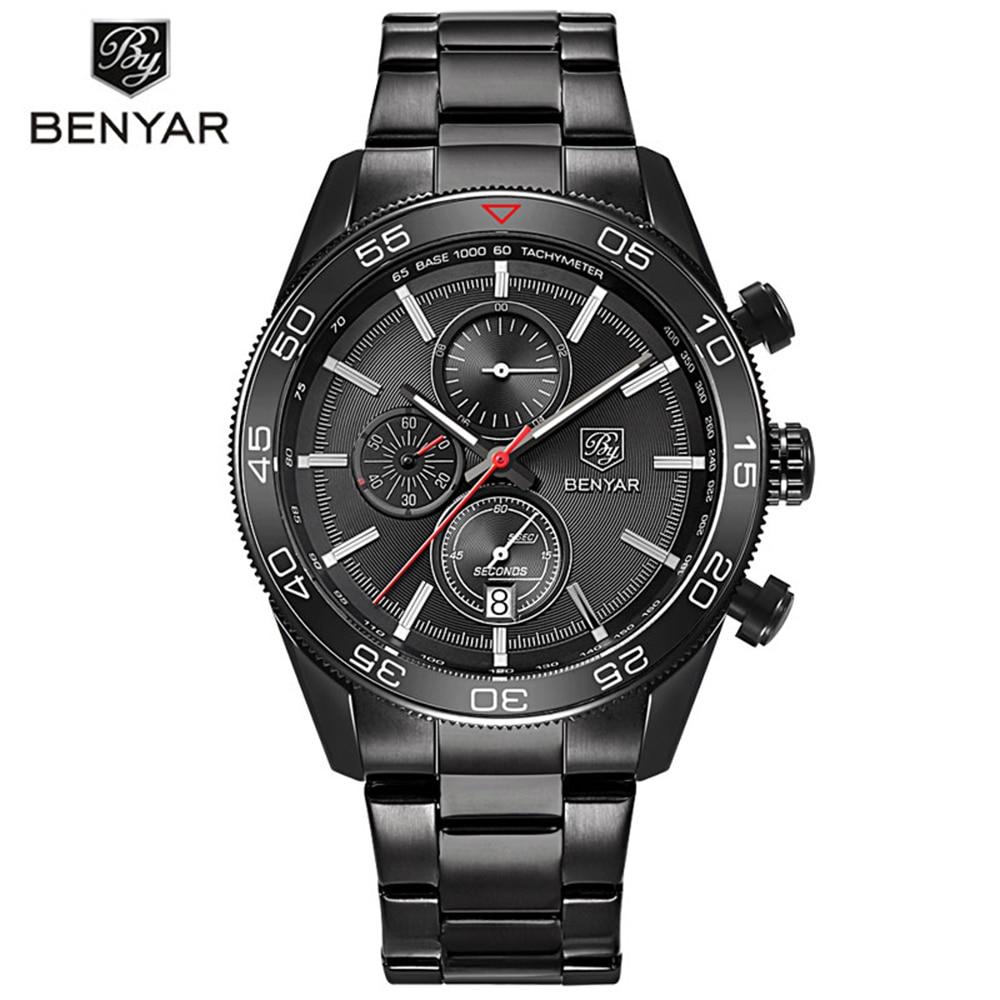 BENYAR Top Luxury Brand Man Watches Calender Chronograph Sport Mens Waterproof  Fashion Military Aviator Wrists Quartz Watch<br>