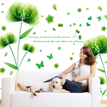 [SHIJUEHEZI] Flower Wall Stickers Green Leaves Vinyl Wall Art Decals for Living Room Furniture Mural Stickers Home Decoration