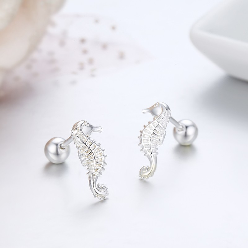 Cute Pure 925 Sterling Silver Seahorse Stud Earrings