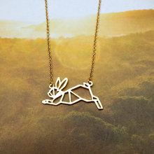 Cute Running Rabbit Necklace Necklace Female and Male Gift Jewelry Necklace--12pcs/Lot(6 Colors Free Choice)(China)
