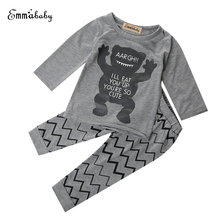 PUDCOCO 2017 Newest Toddler Baby Boy Girls 2PCS T-shirt+Long Pant Outfit Set Pajamas Autumn Winter Clothing for 1T 2T 3T 4T