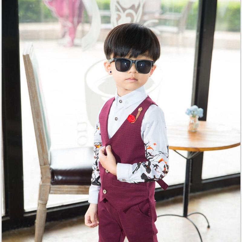 Boys Blazer Children Suits Gentleman Clothes Kids Costume Boy Vest + Shirt + Pants 3Pcs Flowers Tops Farmal Sets Clothing<br>