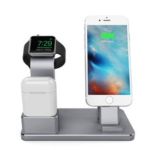 4in1 Phone Stand Desk Charge Dock Station Bracket Cradle Stand Holder for iPhone 6 7 6S Plus iPad Mini 1 2 Air 2 iWatch AirPods(China)