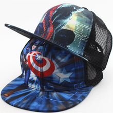2017 New Children Summer Cartoon Superman Adjustable Flat Along Kids  Baseball Cap Snapback Hip Hop Cap Mesh Sun Hats