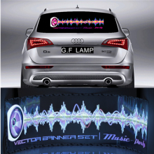 Light Pretty Sound Rhythm gift Glow Car Music Sticker LED Light Lemon Best Activated EQ EL Sheet Equalizer Flash Panel(China)