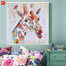 New Colourful Cute Lovely Cartoon Animal Giraffe Painting Canvas Print for Childrens Gift Kids Room Wall Decoration