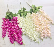 50pcs Fake Thai Orchid Artificial Freesia Bracketplant 5 Stems for Wedding Centerpieces Decorative Hanging Flowers
