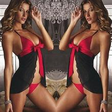 Sexy Lingerie Mesh Patchwork Front Split Open Dress Bow Women Night Underwear 2017 Hot Babydoll