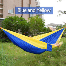 Colorful Parachute Nylon Fabric Outdoor Hammock For Two Person Lover Family Travel Camping Portable Hammock Sleeping Swing Bed(China)