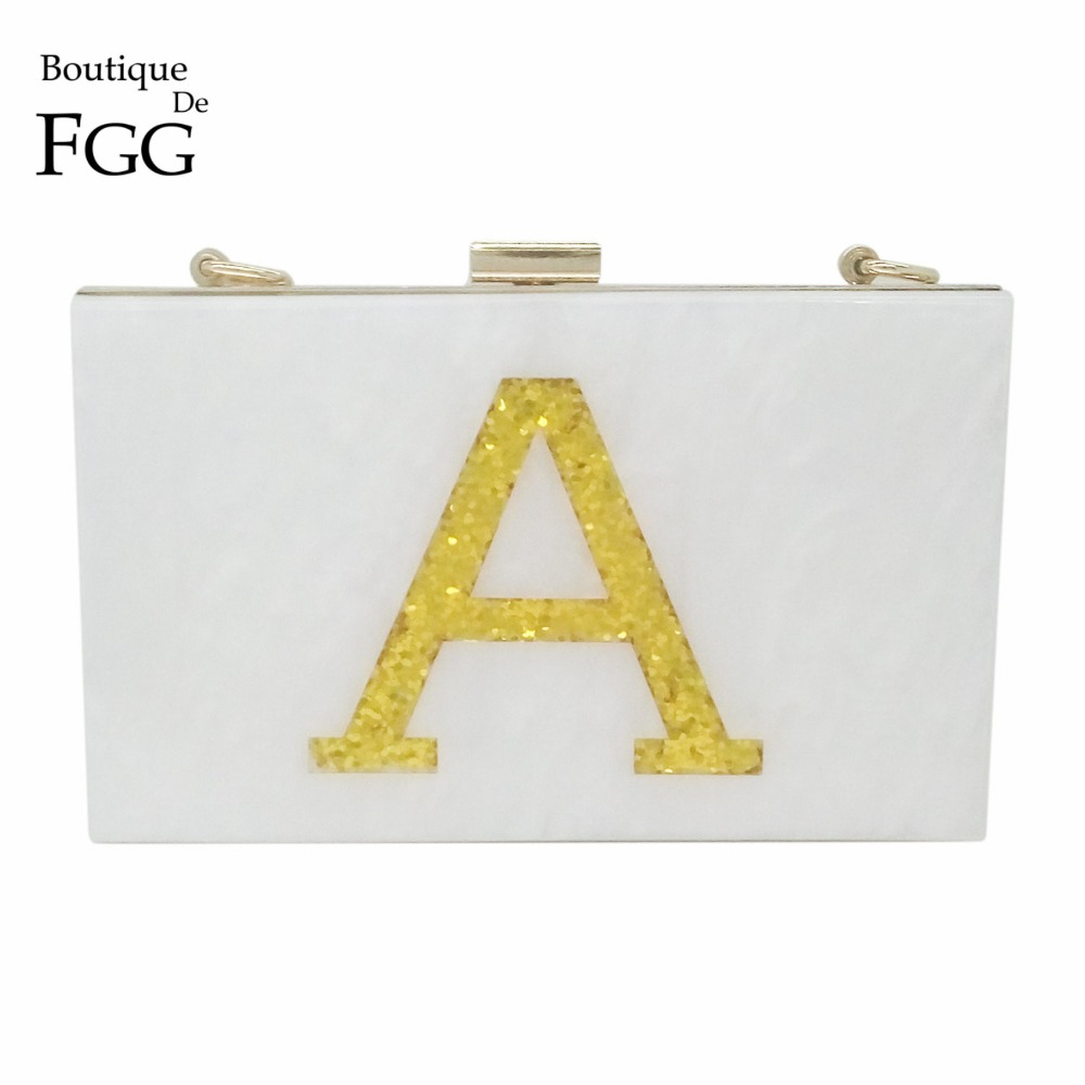 Famous Brand Womens Wedding Shoulder Handbags Golden Letters A White Acrylic Evening Clutch Bag Hardcase Metal Box Clutches Bag<br><br>Aliexpress