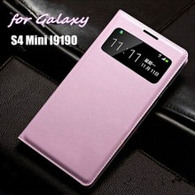 Smart View Shell Auto Sleep Wake Bag Original Leather Case Flip Cover Phone Mask For Samsung Galaxy S4 Mini I9190 I9192 I9195(China)