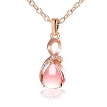 Female charm Water drop pink/purple necklaces pendants jewellery chains crystal women fine jewelry Pendant with stone