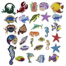 Free Shipping 10 pcs Lobster marine sea animals fish crab Patch Embroidered cartoon patch iron on Motif Applique DIY accessory(China)