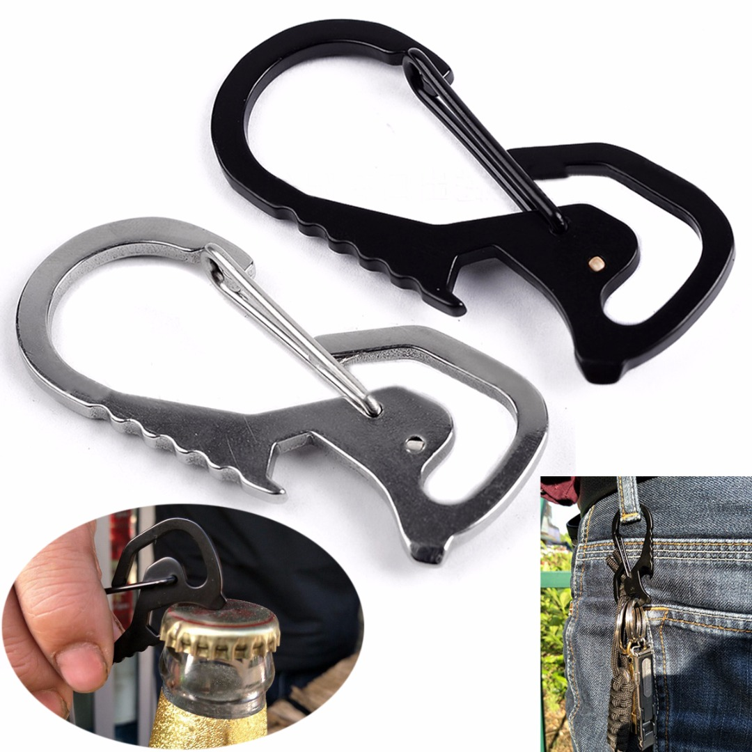 Portable Mini 8-Shaped Stainless Steel Buckle Carabiner Keychain Hook Multi-functional Traveller Key Ring Clip