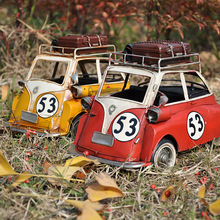 Hand made Vintage Car Modles With Sound Children Pull Back Toys & Light Classic beat-up car Home decor Iron Craft egg Isetta(China)