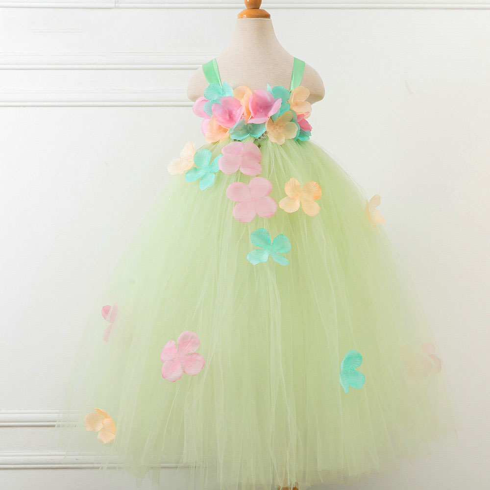 Spring Summer Toddler Kids Baby Girl Clothes Tutu Festival Birthday Wedding Tender Green Tulle Child Beauty Pageant Dresses<br>