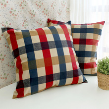 45*45cm/60*60cm High quality blue&red plaid cotton cushion covers funda cojin sofa throw pillow covers home decorative(China)
