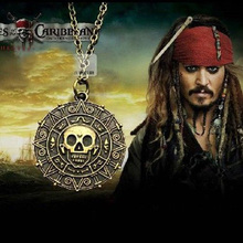 European And American Popular Pirates of the Caribbean JACK SPARROW AZTEC Coin Pendant Chain Necklace Bronze Free Shipping
