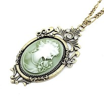 Elegant Vogue Look Antique Cameo Lady Queen Head Hollow Flowers Pendant Necklace Long Chain Jewelry