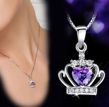 Korean OL stylish S925 Silver Amethyst magic queen crown pendant necklace jewelry wholesale board free shipping(China)
