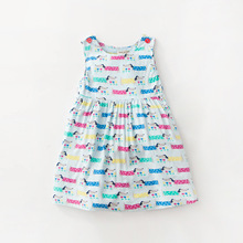 Little Maven New Summer Kids Lovely Sleeveless Colorful Dachshund Doggy Printed O-neck Kintted Cotton Girls Casual Dresses(China)