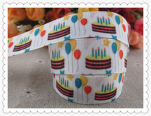 "2013 new arrival  7/8"" (22mm) happy birthday balloon printed grosgrain ribbons birthday cake ribbon hairbows 10 yards"