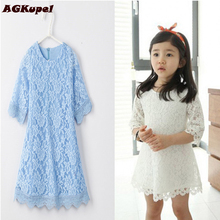 Hot 2016 New Spring Dress For girl vestido de princesa Girl Clothes Princess Baby Girls Lace Dress Children's Formal dresses(China)