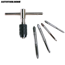 AUTOTOOLHOME 5pcs/Set T Type Machine Hand Screw Thread Taps Reamer M3/M4/M5/M6 Tap Set fit Handle DIY Tool Accessories(China)