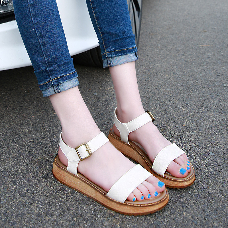 2017 Black And White Summer Women Sandals Ladies Casual Leather Soles Thick Sandals Girls Roman Muffins Large Size Womens Shoes<br><br>Aliexpress