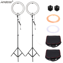 Andoer LA-650D 2pcsLED Photographic Lighting Ring Light Kit Selfie Video Light with Light Stand Color Filter Stand Mount Adapter