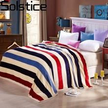 Solstlce Beddings Fashion Brand Striped Styles Coral Cashmere Blankets Super Sofa/TV/Travel Blanket 4 Size Plush Bedsheet Quilt
